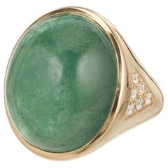 Peter Suchy 21.58 Carat Emerald Diamond Yellow Gold Cocktail Ring