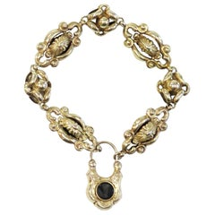 Antique Victorian Mourning Bracelet with Etched Padlock Clasp, 10 Karat