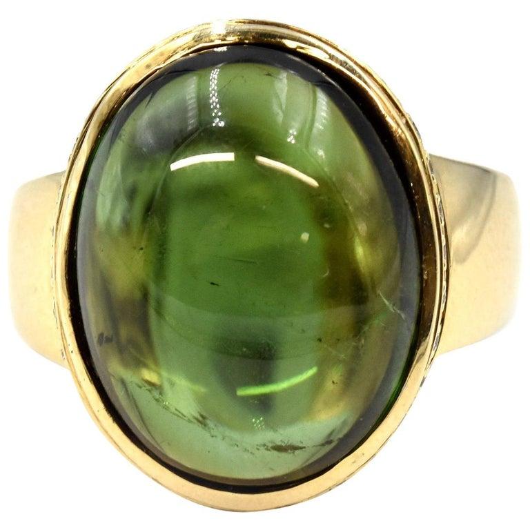 14 Karat Yellow Gold Oval Green Tourmaline Cabochon Diamond Ring
