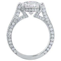 3.01 Carat GIA Graded Round Brilliant Cut Diamond Platinum Engagement Ring
