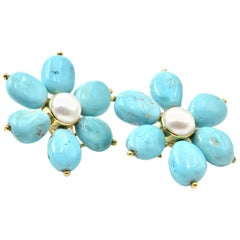 18 Karat Yellow Gold Turquoise and Pearl Flower Earrings