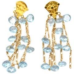 18 Karat Yellow Gold Aquamarine Drop Earrings