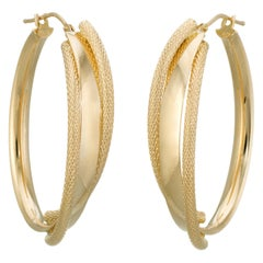Large Oval Hoop Earrings Estate 14 Karat Yellow Gold Italy Vintage Fine Jewelry
