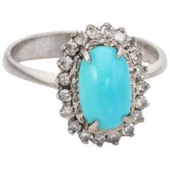Turquoise Diamond Princess Ring Vintage 14 Karat White Gold Estate Fine Jewelry