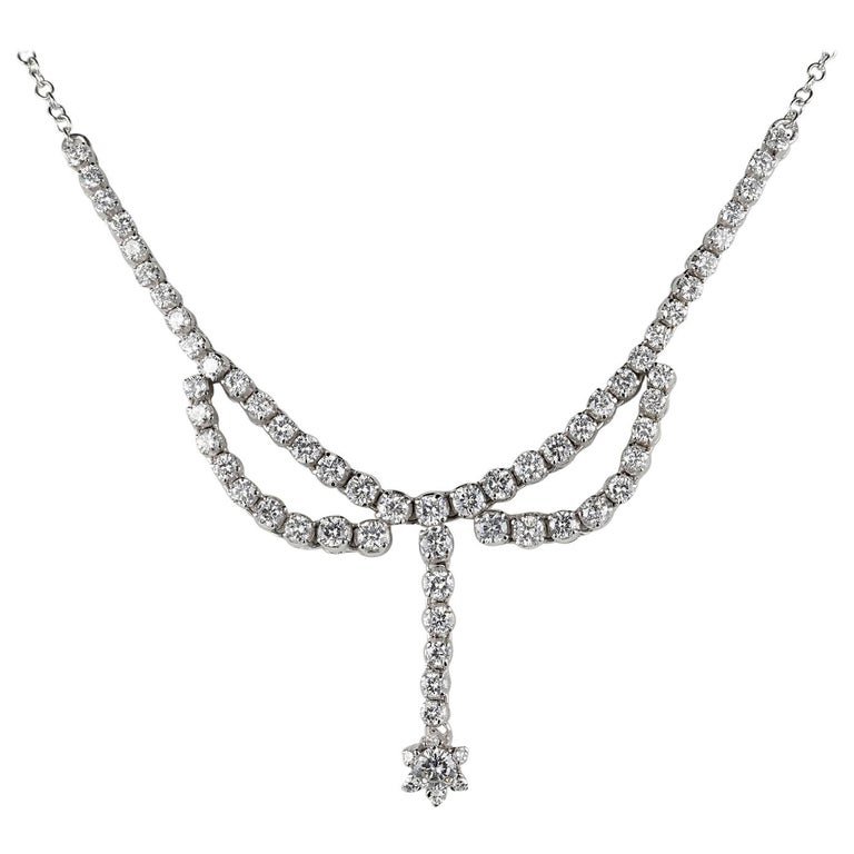 3.30 Carat Diamond F G VVS Glamour of the 1950s Necklace For Sale