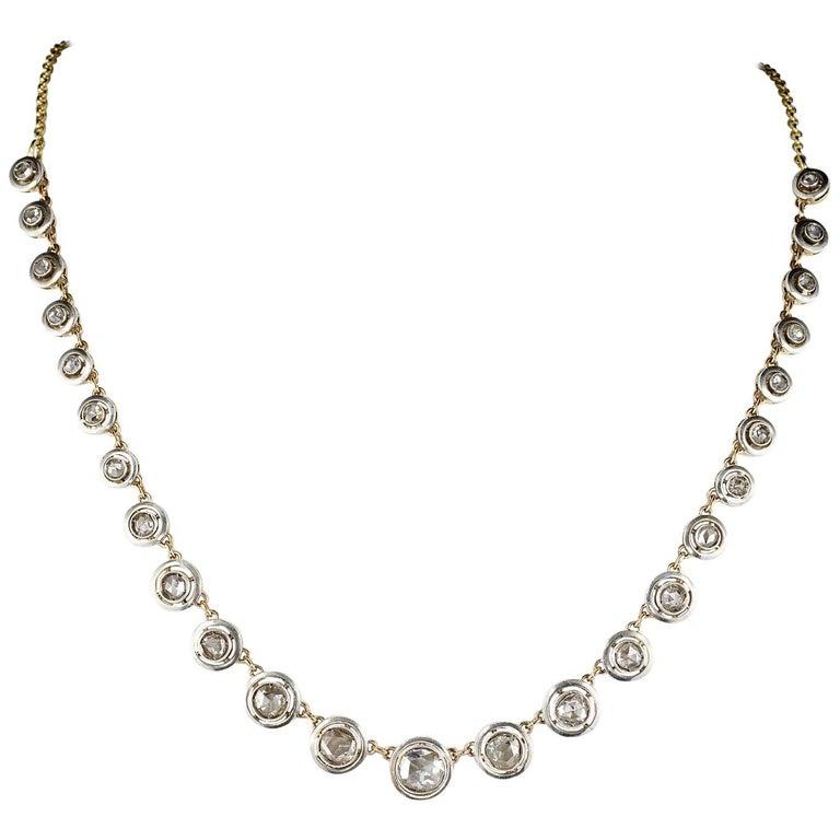 Antique Diamond Riviere Necklace of Target Design