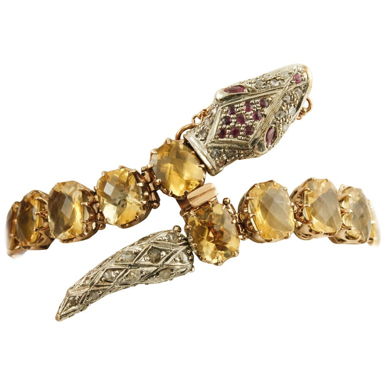 Diamonds Rubies Yellow Topaz Rose Gold and Silver Snake Link Bracelet