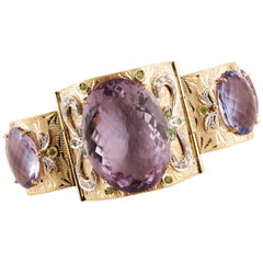 White Diamonds Tsavorites Amethyst Rose Gold Engraved Link Bracelet