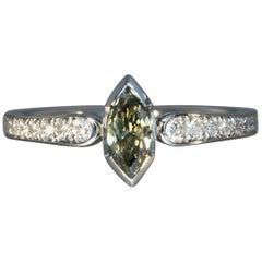 Robert Vogelsang Fancy 0.45 Carat Diamond Marquise Platinum Engagement Ring