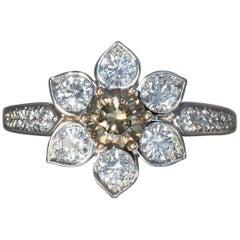 Robert Vogelsang Fancy Brown 0.63 Carat Diamond Flower Platinum Engagement Ring