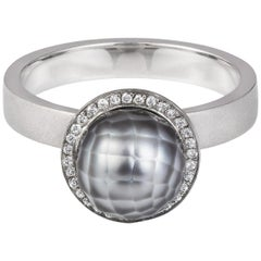 Sweet Pea 18k White Gold Engagement Ring With Grey Faceted Pearl and Diamonds