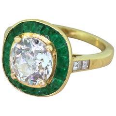 Midcentury 1.91 Carat Old Cut Diamond and Emerald 18 Karat Gold Halo Ring
