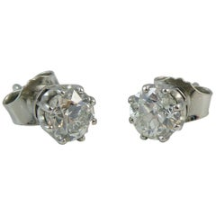 Antique Old European Cut Diamond Solitaire Earrings, 1.36 Carat