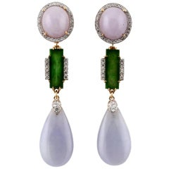 Diamond 46.7 Carat Lavender and Green Chinese Jade Earrings, John Landrum Bryant