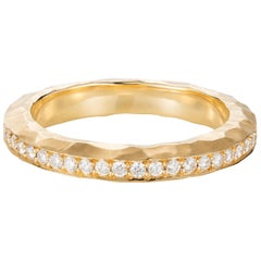 Sweet Pea 18k Yellow Gold Hammered Eternity Band Ring With White Diamonds