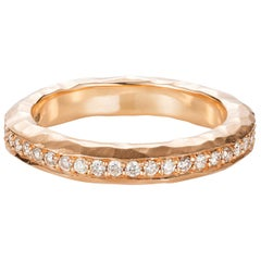18 Karat Rose Gold Hammered Eternity Band Ring with Champagne Diamonds