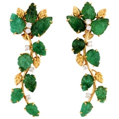 Cascade of Emerald Leaves with Diamonds 18 Karat Earrings by John Landrum Bryant