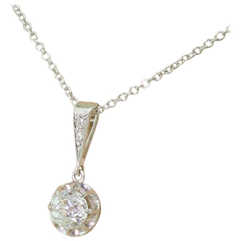 Art Deco 1.02 Carat Old European Cut Diamond Platinum Pendant For Sale