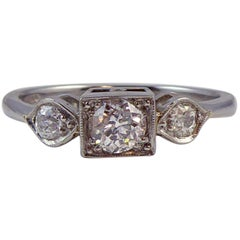 Old European Cut Diamond Ring, 0.50 Carat Three-Stone Design, Platinum