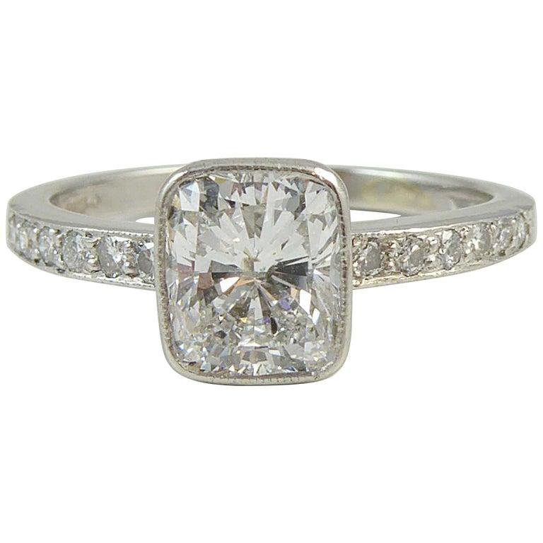 1.04 Carat Cushion Shaped Brilliant Cut Diamond Solitaire Ring, Platinum