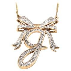 "1.00 Carat Diamond 14 Karat Rose Gold ""G"" Bow Pendant Necklace"
