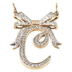 "1.00 Carat Diamond 14 Karat Rose Gold ""C"" Bow Pendant Necklace"