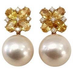 South Sea Pearl, Yellow Sapphire and Diamonds 18 Karat Pierced Earrings
