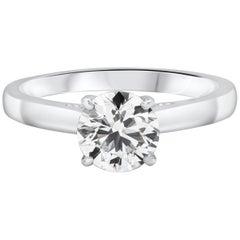 0.99 Carat Round Brilliant Diamond Solitaire Engagement Ring