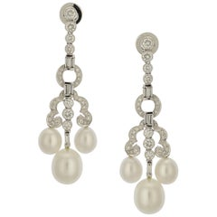 2.35 Carat Platinum, Diamond and Cultured Pearl Chandelier Earrings
