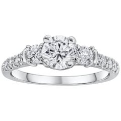 Round Brilliant Diamond Three-Stone Pave Engagement Ring