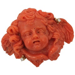 "Antique 18 Karat Carved Coral ""Huge"" Putti Cherub Angel Diamond Brooch"