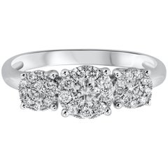 0.45 Carat Cluster Diamond Three-Stone Engagement Ring