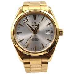 Omega Seamaster Aqua Terra Co-Axial 18 Karat Yellow Gold Watch Ref 2102.30.00