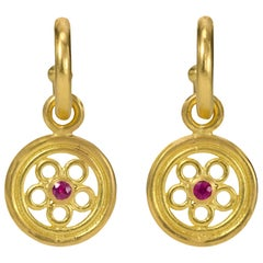 Ruby 22 Karat and 18 Karat Gold Hoop and Drop Earrings