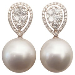 18 Karat Rose Gold South Sea Pearl and Diamond Pierced Earrings