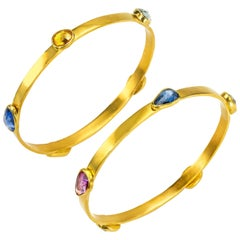 Ruby and Sapphires 22 Karat Gold Bangle Bracelets