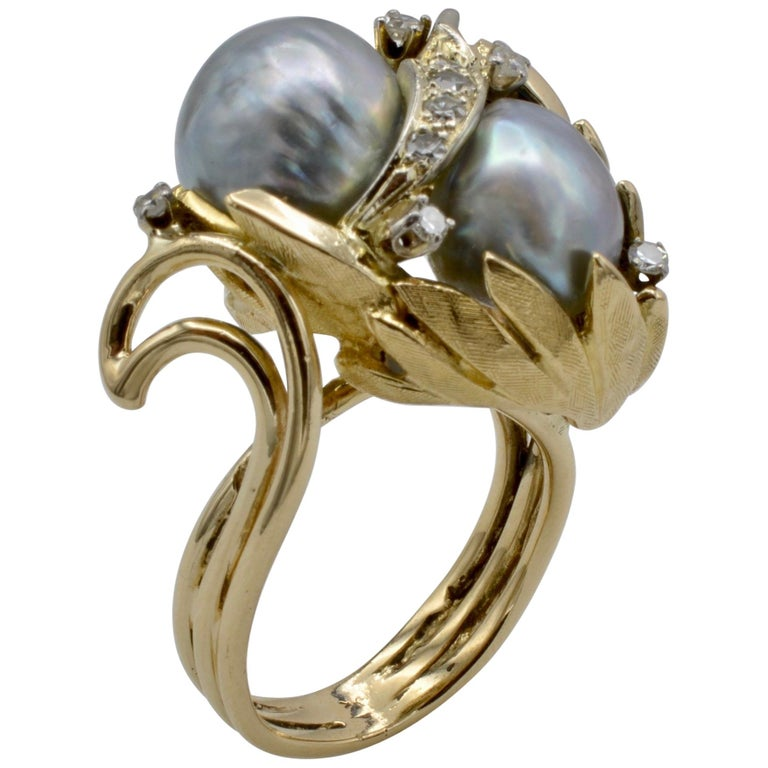 Cocktail Ring South Sea Pearl Diamond Leaves, circa 1970s