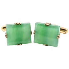 Jade 10 Karat Yellow Gold Square Cufflinks