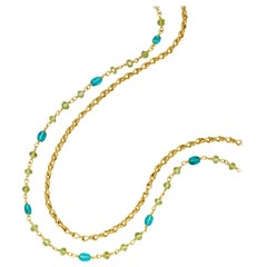 Peridot and Apatite Beads Yellow Gold 22 Karat Gold Necklace