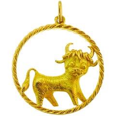 Yellow Gold Taurus Zodiac Pendant, 1980s