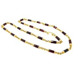 Estate Vintage Antique Retro 20 Karat Gold Garnet Barrel Gold Necklace Chain