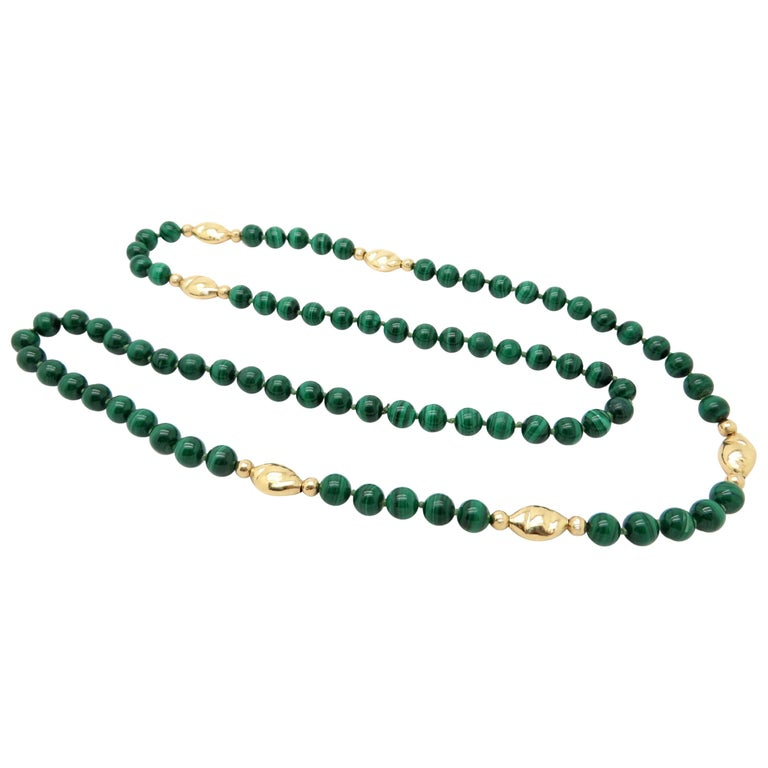 Estate Vintage Round Malachite Beaded Necklace Chain with 14 Karat Gold Beads