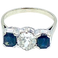 Diamond and Sapphire Three-Stone Ring