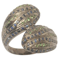 Stylized Snake Head Ring with Sapphires and Tsavorite Stones