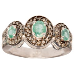 Emerald and Diamond Ring Set in Sterling
