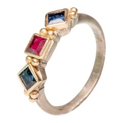 18 Karat Gold and Sterling Ruby and Sapphire Ring