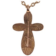 Rare Russian Gold Pendant Cross, 1878