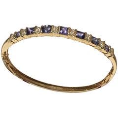 Tanzanite and Diamond Bangle Set in 14 Karat Gold