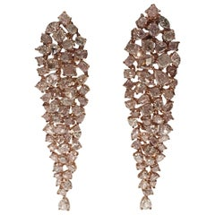 Natural Pink Diamonds Earrings Set in Pink Gold