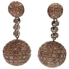 Pink and White Diamonds Ball Earrings